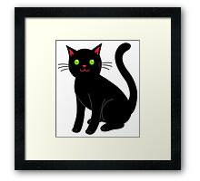 Black cat blue eyeBlack cat Framed Print