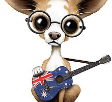 Cute Chihuahua Playing Australian Flag Guitar by Jeff Bartels