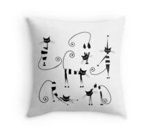 Amusing cats design set Throw Pillow