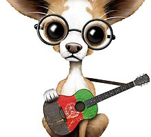 Cute Chihuahua Playing Afghan Flag Guitar by Jeff Bartels