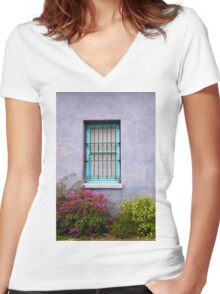 The Aqua Blue Window  Women's Fitted V-Neck T-Shirt