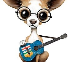 Cute Chihuahua Playing Alberta Flag Guitar by Jeff Bartels