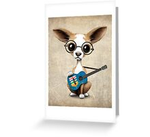 Cute Chihuahua Playing Alberta Flag Guitar Greeting Card