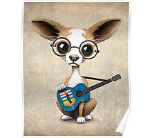 Cute Chihuahua Playing Alberta Flag Guitar Poster