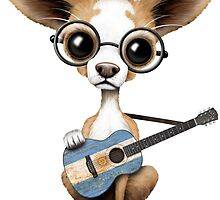 Cute Chihuahua Playing Argentine Flag Guitar by Jeff Bartels
