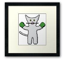 Kitten with mittens clip art Framed Print