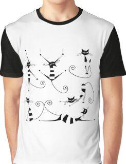Amusing black cat design Graphic T-Shirt