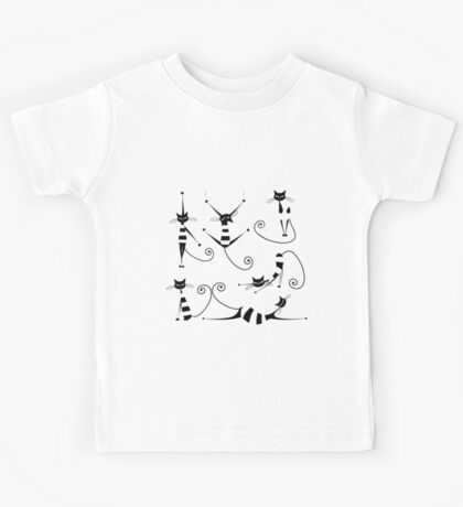 Amusing black cat design Kids Tee
