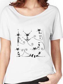 Amusing black cat design Women's Relaxed Fit T-Shirt