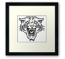 Angry tiger silhouette head Framed Print