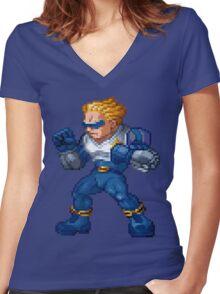 Captain Commando Women's Fitted V-Neck T-Shirt