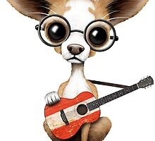 Cute Chihuahua Playing Austrian Flag Guitar by Jeff Bartels