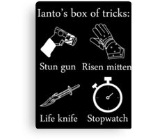 Ianto's box of tricks (white) Canvas Print