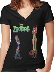 Zootopia Nick & Judy Women's Fitted V-Neck T-Shirt