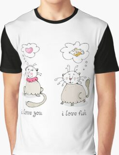 Love you, love face funny cat graphic Graphic T-Shirt
