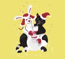 Christmas cartoon cat clip art One Piece - Short Sleeve