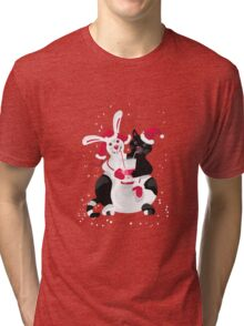 Christmas cartoon cat clip art Tri-blend T-Shirt
