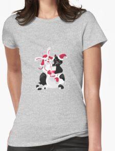 Christmas cartoon cat clip art Womens Fitted T-Shirt