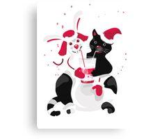 Christmas cartoon cat clip art Canvas Print