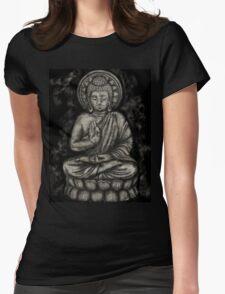 Zen Silver, Buddha 1 Womens Fitted T-Shirt