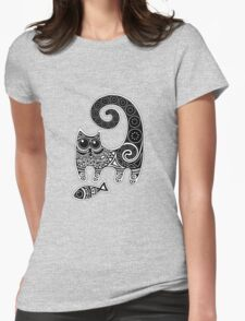 Funny floral pattern cats Womens Fitted T-Shirt