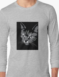 Black cat cartoon silhouetteCat silhouette cat silhouette Long Sleeve T-Shirt