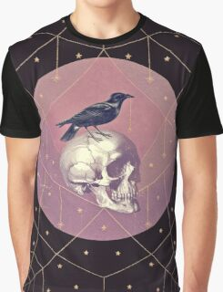 Crow and Skull Collage Graphic T-Shirt