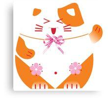 Fat cat sitting art Canvas Print