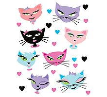 Cute cartoon cats card Photographic Print