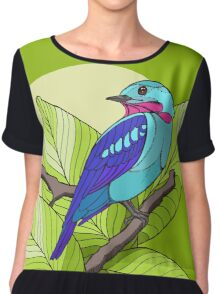 Blue tropical bird in green leaves print Chiffon Top