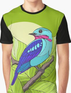 Blue tropical bird in green leaves print Graphic T-Shirt