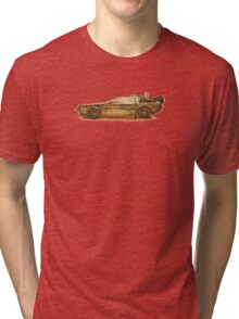 Lost in the Wild Wild West! (Golden Delorean Doubleexposure Art) Tri-blend T-Shirt
