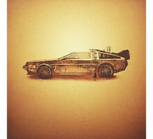 Lost in the Wild Wild West! (Golden Delorean Doubleexposure Art) Photographic Print