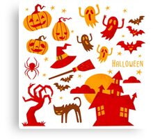 Happy halloween card design related elements Canvas Print
