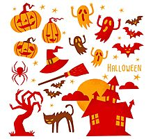 Happy halloween card design related elements Photographic Print