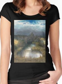 autumn pond Women's Fitted Scoop T-Shirt
