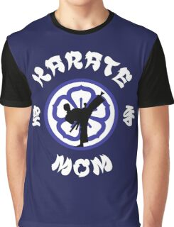 Karate Mom Crest, Side Kick Silhouette & Kanji Graphic T-Shirt