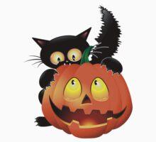 Halloween spooky pumpkins cat Kids Tee
