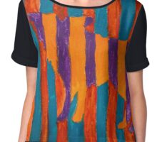 Striped Wolf Outline Chiffon Top