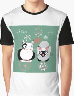 Funny cartoon i love you cat design Graphic T-Shirt
