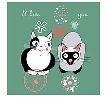 Funny cartoon i love you cat design Photographic Print