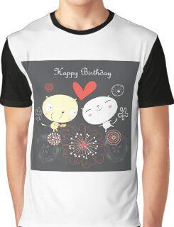 Cartoon cat happy birthday background Graphic T-Shirt