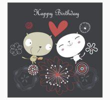 Cartoon cat happy birthday background Kids Tee