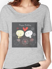 Cartoon cat happy birthday background Women's Relaxed Fit T-Shirt