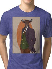 Retro Bull man. Antropomorphic print Tri-blend T-Shirt
