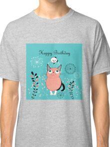 Funny cartoon happy birthday cat design Classic T-Shirt
