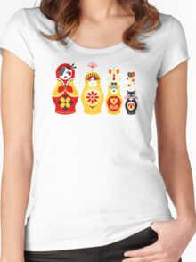 Russian Nesting Dolls – Yellow & Red Women's Fitted Scoop T-Shirt