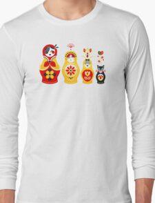 Russian Nesting Dolls – Yellow & Red Long Sleeve T-Shirt