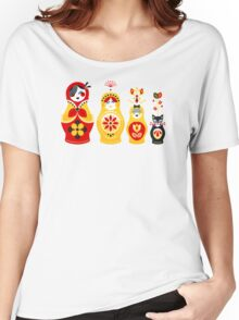 Russian Nesting Dolls – Yellow & Red Women's Relaxed Fit T-Shirt