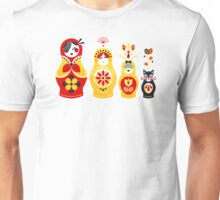 Russian Nesting Dolls – Yellow & Red Unisex T-Shirt